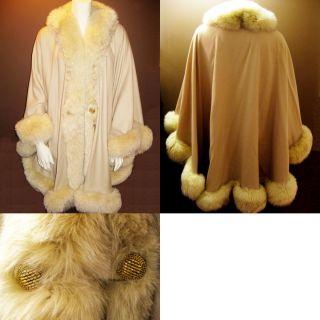 Cashmere Wool Blend Poncho Cape Wrap with Fox Fur Trim