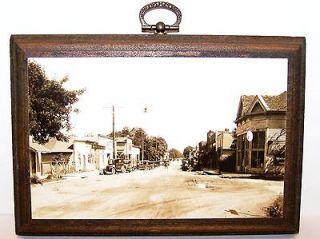 Old Black & White STREET SCENE Photo Postcard w/ Sinclare Gasoline