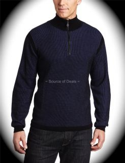 Robert Graham MOZZA (4XL) Blue Haif Zip Merino Wool Knitwear/Sweater
