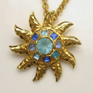 Graziano Vintage Large Star Sun Brooch Pin Pendant Necklace Blue Glass