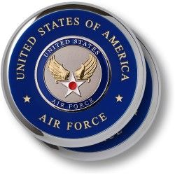United States Air Force Hap Arnold Wing Chrome Coaster 2 PC Set w