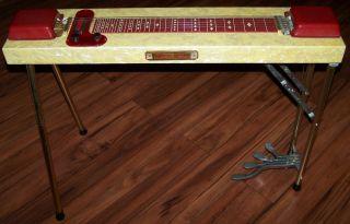 Vintage 1950s 60s Harlin Bros Multi Kord 6 String 4 Pedal Steel Guitar