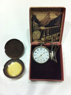 ZENITH POCKET WATCH WITH METAL CASE CHAIN AND BOX GRAND PRIX 1900