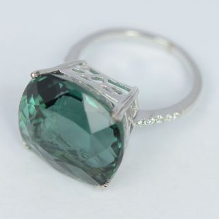 Green Amethyst White Sapphire Sterling Silver 925 Ring Size 6 5 US N