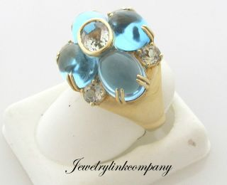 gold ring with Cabochon Blue Topaz and Green Amethyst TGW 19.12 carat