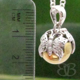 Pure 925 Sterling Silver Butterfly Harmony Ball Pendant Chime Bell