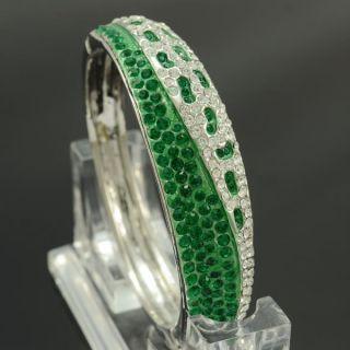 New Exquisite Design Green Bracelet Bangle Cuff W Swarovski Crystals