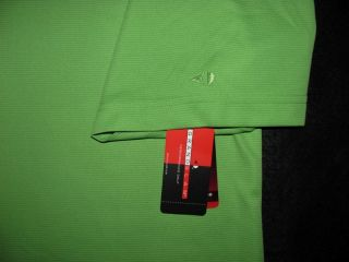 Grand Slam Golf Perf Logo Green Wicking Ribbed Comfort Polo Shirt Mens