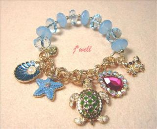 Betsey Johnson Turtle Starfish Crab Shell Drop Glass Stretch Bracelet