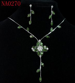Magnificent Green Flower Crystal Necklace Earrings Set