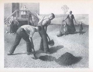 Grant Wood Print Iowa Schoolhouse Tree Planting Group