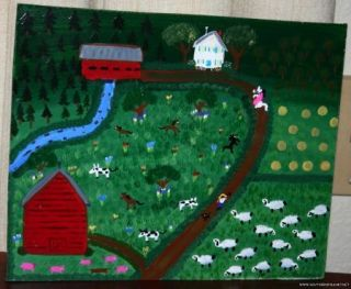 Mary Hardman Folk Art Painting Covered Bridge Cornelia Georgia