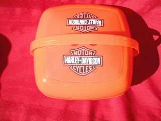 HARLEY DAVIDSON SADDLE BAGS TRAVEL SIZE MINI BBQ GRILL + PICNIC BASKET
