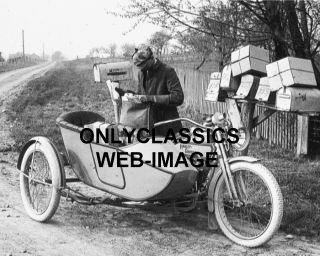 Harley Davidson Sidecar Motorcycle Postman Mail Photo