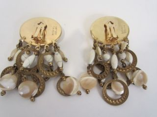 Michal Golan Vintage Signed Gold Plate Chandelier Clip on Earrings