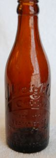 GREENWOOD MS Amber STRAIGHT SIDE Coca Cola Bottle   NEAR MINT