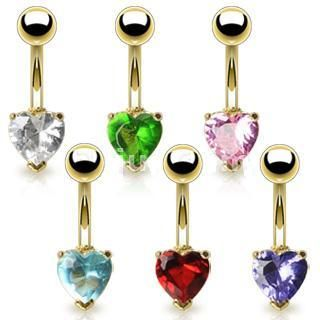 Lot Gold Heart Belly Navel Ring Body Piercing Jewelry
