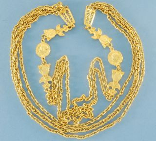 Vtg Stylish Ancient Rome Revival Gold Coin Necklace