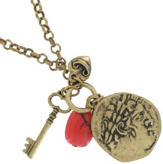 Necklace Pendant New Gold Tone Charm Key Coin Flower Heart