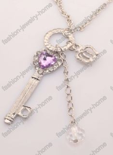 Clear Crystal Heart Key Crown Silver Gold Pendant Necklace