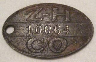 RARE Zollinger Harned Department Store Charge Plate Credit Card Token