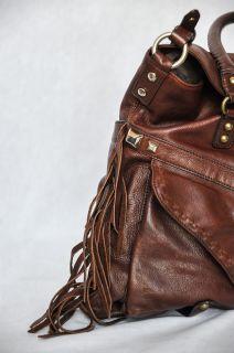 Hayden Harnett Wyeth Fringe Hobo Handbag Bag Crossbody Purse Brown
