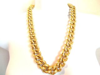 Klein Heavy Chunky Gold Plated Statement Chain Necklace Vintage