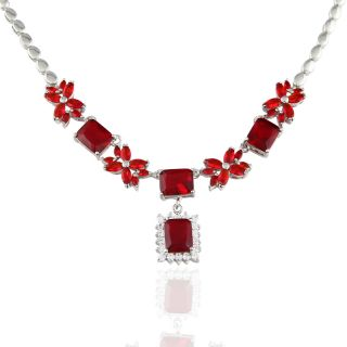 Emerald Red Ruby White Gold Plated Pendant Necklace Silver Tone Neck