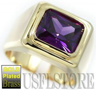 Mens Simulated Amethyst Solitaire 18kt Gold Plated Ring