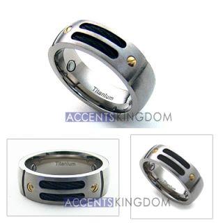 8mm Mens Titanium Magnetic Gold Rivet Cable Ring Band