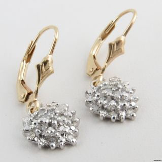 Diamond Dangle Earrings   10k White & Yellow Gold Leverback Sun Flower