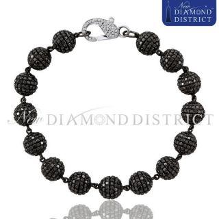 Gold 28 74ct Total Pave Set Black White Diamond Ball Bead Bracelet