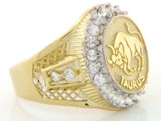 10K Solid Yellow Gold Mens Zodiac CZ Ring Taurus