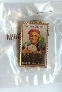 Harriet Tubman Postage Stamp Metal Pin SEALED