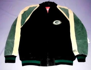 Green Bay Packers Suede Leather Jacket XL NFL Embroidered Logos