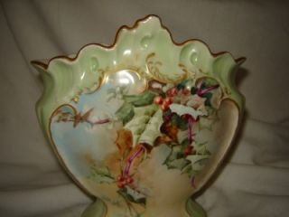 LIMOGES France Gold trimmed Rose Vase hand painted dated 1896 green