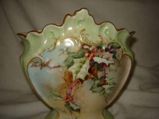 LIMOGES France Gold trimmed Rose Vase hand painted dated 1896 green
