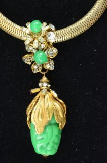 Vintage Costume Jewelry Miriam Haskell Gold Tone with Green Stones
