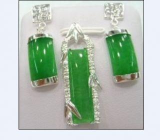 Silver Plate Green Jade Pendant Earrings Set
