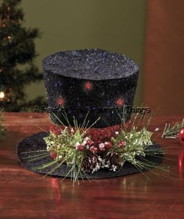 LIGHTED HOLIDAY TOP HAT CHRISTMAS TABLE CENTERPIECE MANTEL HOME DECOR