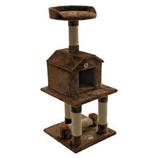 Whisker World Wicker House Cat Tree / Kitty Condo with Tower Perch