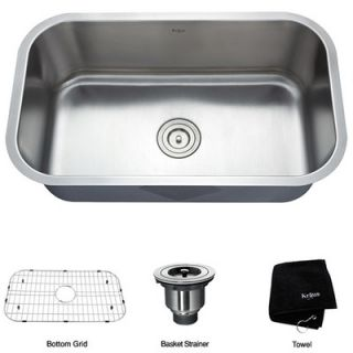 Kraus Stainless Steel 16 Gauge Undermount 30 Single Bowl Kitchen Sink