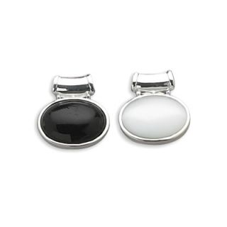 Jewelryweb Sterling Silver Reversible Oval Black Onyx White Glass Cats