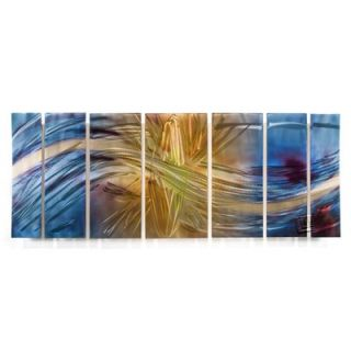 by Ash Carl Metal Wall Art in Blue and Yellow   23.5 x 60