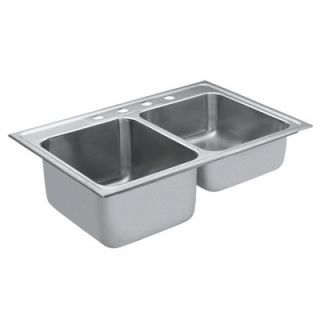 Moen Camelot 33 x 22 Unequal Double Bowl Drop In Sink
