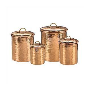 Old Dutch Hammered Copper 4 Piece Hammered Canister Set