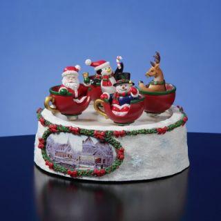 San Francisco Music Box Santa n Friends Spinning Cups Figurine