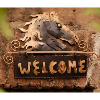 Novica Golden Horse Welcome Sign