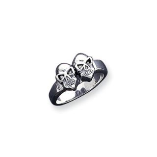 Jewelryweb Sterling Silver Skull Masonic Ring   QTR75345SS