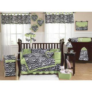 Sweet Jojo Designs Lime Funky Zebra 9 Piece Crib Bedding Set   Zebra